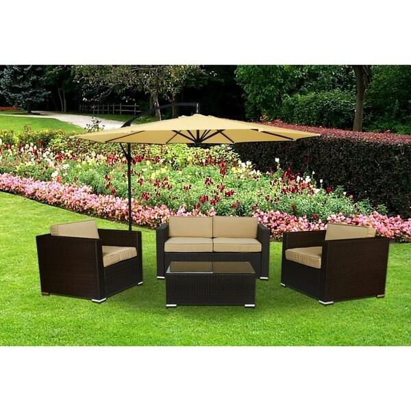 Cane Garden 5 Pieces Outdoor Wicker Conversation Set