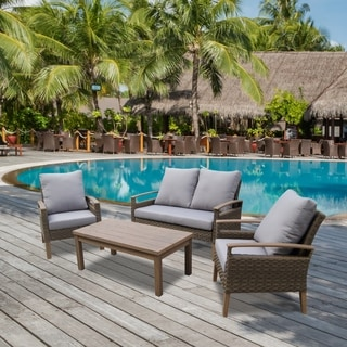 Bari 4 Piece Outdoor Wicker Conversation Set