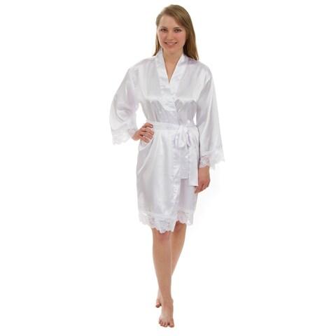 Leisureland Women's Lace Robe, Luxury Lace Trim