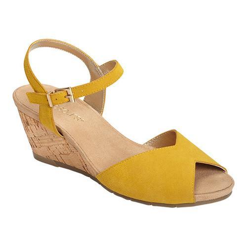 d7f6793d9d3e Shop Women s Aerosoles Cupcake Quarter Strap Wedge Sandal Yellow Suede -  Free Shipping Today - Overstock - 15006714