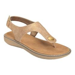 Women's Aerosoles Be Cool Thong Sandal Taupe Metallic Faux Leather