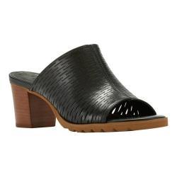 Women's Walking Cradles Nia Heeled Slide Black Accordian Perfed Soft Maia Leather