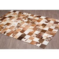Hand-stitched Tan Jersey Cow Hide Leather Rug - 5'x 8'
