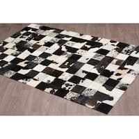 Hand-stitched Black Jersey Cow Hide Leather Rug - 5'x 8'