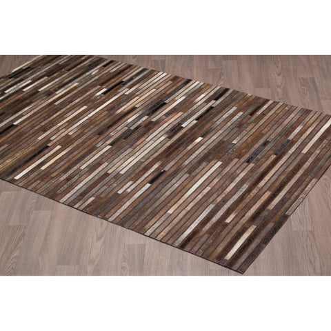 Hand-stitched Chocolate Stripe Cow Hide Leather Rug - 5'x 8'