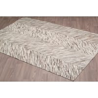 Hand-stitched Grey Cow Hide Leather Rug - 5'x 8'