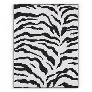 Williamsburg Ainslie Zebra Animal Print Black/ White Rug (3'10 x 5'7)