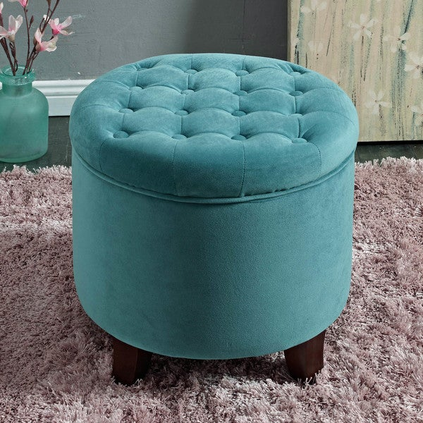 HomePop Large Round Button-Tufted Storage Ottoman - HomePop Large Round Button-Tufted Storage Ottoman - Free Shipping
