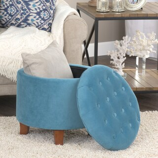 Porch & Den Los Feliz Riverside Large Round Button-tufted Storage Ottoman