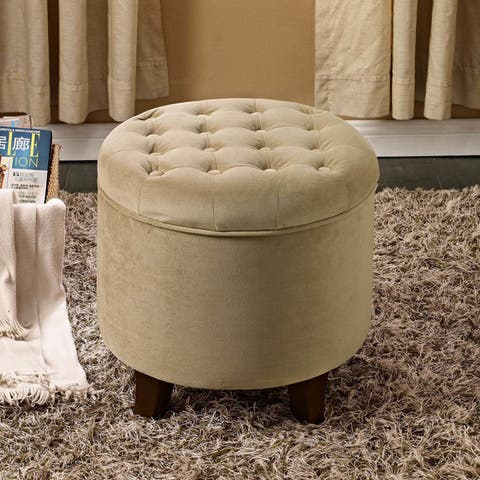 Carson Carrington Hare Large Round Button-tufted Storage Ottoman