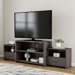 Porch & Den Bushwick Palmetto Tiered Cappuccino Entertainment TV Console