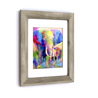 Porch & Den Richard Wallich 'Elephant 1' White Matte, Birch Framed Wall Art