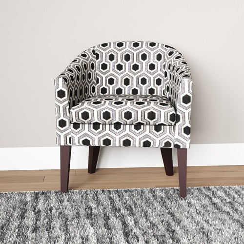 Porch U0026amp; Den Ballard Vernon Charlotte Black/ White Geometric Barrel Chair