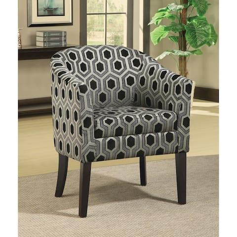 "Porch & Den Vernon Charlotte Black/ White Geometric Barrel Chair - 24"" x 27"" x 34"""