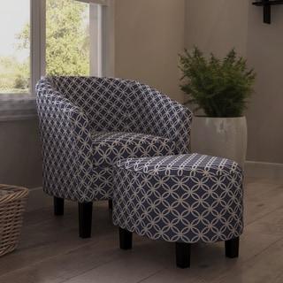 Porch & Den Bay View Brust Dark Blue Club Chair and Ottoman