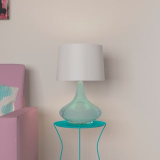 Porch & Den Delano Burton Light Blue Glass Fabric Shade Table Lamp