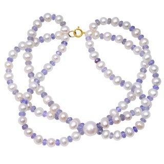 Orchid Jewelry 79.25 Carat Tanzanite Pearl 14k Yellow Gold Beaded Bracelet