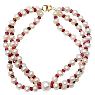 Orchid Jewelry 70.25 Carat Ruby Pearl 14k Yellow Gold Beaded Bracelet