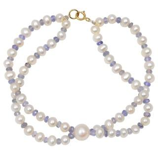 Orchid Jewelry 48.25 Carat Tanzanite Pearl 14k Yellow Gold Beaded Bracelet