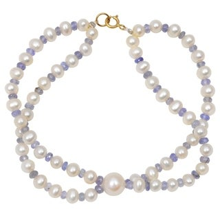 Orchid Jewelry 48.25 Carat Tanzanite Pearl 14k Yellow Gold Beaded Bracelet