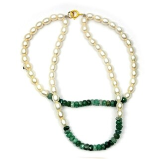 Orchid Jewelry 44 Carat Emerald Pearl 14k Yellow Gold Beaded Bracelet