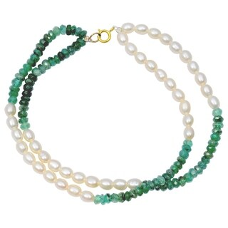 Orchid Jewelry 41.25 Carat Emerald Pearl 14k Yellow Gold Beaded Bracelet