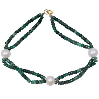 Orchid Jewelry 31.25 Carat Emerald Pearl 14k Yellow Gold Beaded Bracelet