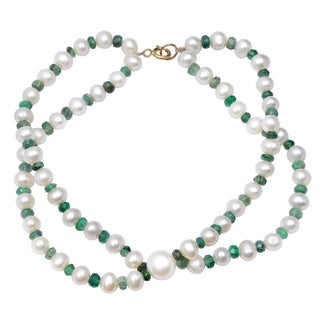 Orchid Jewelry 49.5 Carat Emerald Pearl 14k Yellow Gold Beaded Bracelet