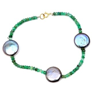 Orchid Jewelry 32.75 Carat Emerald Grey pearl 14k Yellow Gold Beaded Bracelet