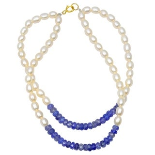 Orchid Jewelry 46.5 Carat Tanzanite Pearl 14k Yellow Gold Beaded Bracelet