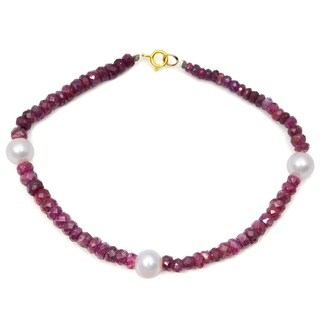 Orchid Jewelry 41 Carat Ruby Pearl 14k Yellow Gold Strand Bracelet