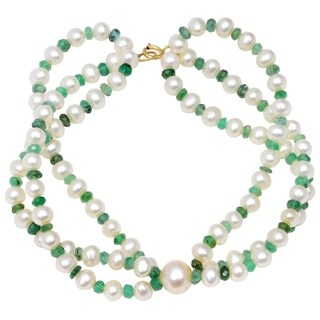 Orchid Jewelry 67.25 Carat Emerald Pearl 14k Yellow Gold Beaded Bracelet
