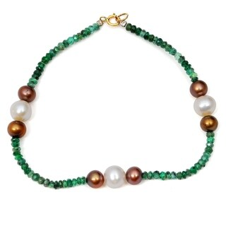 Orchid Jewelry 25.25 Carat Emerald Pearl Brown Pearl 14k Yellow Gold Strand Bracelet