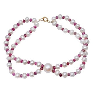 Orchid Jewelry 46.75 Carat Ruby Pearl 14k Yellow Gold Beaded Bracelet