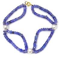 Orchid Jewelry 61.25 Carat Tanzanite Pearl 14k Yellow Gold Beaded Bracelet