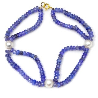 Orchid Jewelry 61.25 Carat Tanzanite Pearl 14k Yellow Gold Beaded Bracelet