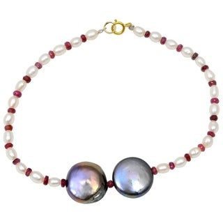 Orchid Jewelry 30.25 Carat Ruby Pearl Grey pearl 14k Yellow Gold Strand Bracelet