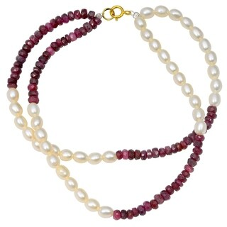 Orchid Jewelry 45.75 Carat Ruby Pearl 14k Yellow Gold Beaded Bracelet