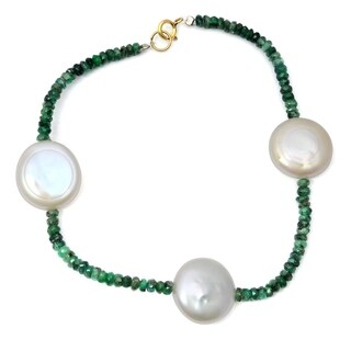 Orchid Jewelry 40 Carat Emerald Pearl 14k Yellow Gold Beaded Bracelet