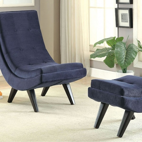 Esmeralda Transitional Accent Chair With Ottoman, Navy