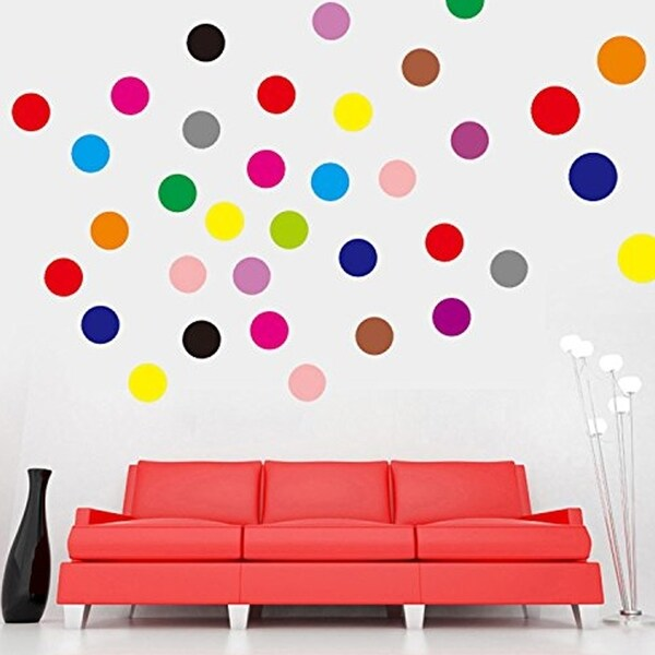 Set Of 102 Polka Dot Vinyl Circles Dots Wall Art