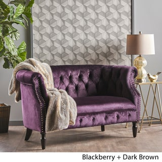 Milani Tufted Scroll Arm Velvet Loveseat by Christopher Knight Home