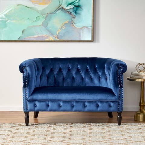Milani Velvet Tufted Scroll Arm Loveseat by Christopher Knight Home