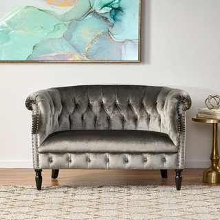 Link to Milani Tufted Scroll Arm Velvet Loveseat by Christopher Knight Home Similar Items in Living Room Furniture