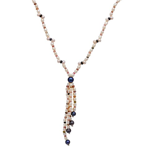 Orchid Jewelry 97.75 Carat Tourmaline Sapphire Pearl Grey pearl 14k Yellow Gold Beaded Necklace