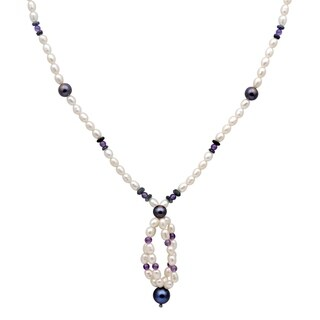 Orchid Jewelry 77 Carat Sapphire Amethyst Pearl Grey pearl 14k Yellow Gold Beaded Necklace