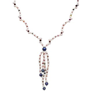 Orchid Jewelry 94.25 Carat Ruby Tourmaline Pearl Grey pearl 14k Yellow Gold Beaded Necklace