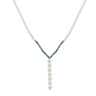Orchid Jewelry 53.5 Carat Emerald Pearl 14k Yellow Gold Beaded Necklace