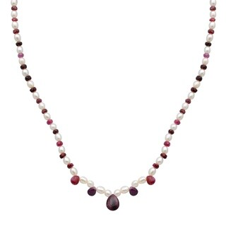 Orchid Jewelry 55.5 Carat Ruby Pearl 14k Yellow Gold Beaded Necklace