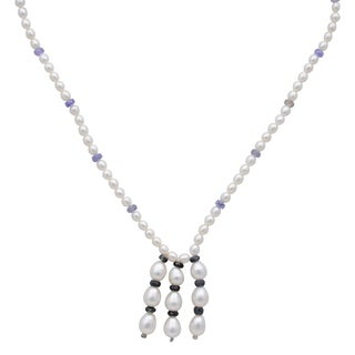 Orchid Jewelry 73.25 Carat Tanzanite Sapphire Pearl 14k Yellow Gold Y-Shape Necklace